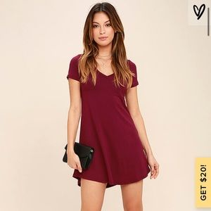 Lulus The Better Together Wine Red Shirt Dress S